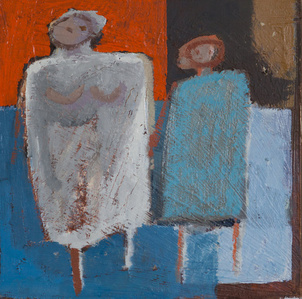 Mother and Child in Red and Blue