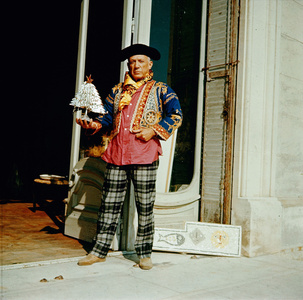 Picasso in a whimsical portrait, wearing a bullfighter's jacket, La Californie, Cannes, France