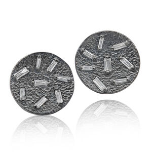 White Diamond Baguette Textured Concave Coin Oxidized Silver Stud Earrings