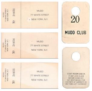 Mudd Club NYC, 4-PIECE SET, (1) Coat Check Stub, (3) Admission Tickets, circa. 1978-83
