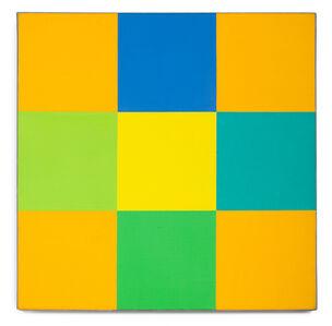Grün-Blaue Drehung Um Gelbes Quadrat