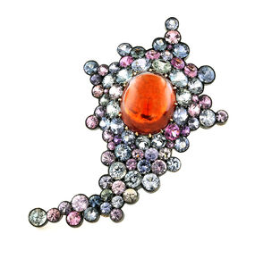 Spessarite Cabochon, Burma Sapphire, Oxidized Silver, Blackened 18K White  Gold and 18K Rose Gold Brooch