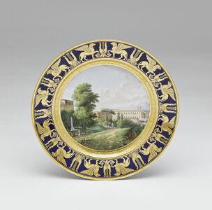 Assiettes du service des vues diverses : Vue du Museum du Belvédère à Rome (Plate with different views (part of service): View of Belvedere Museum from Rome)