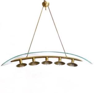 5-light chandelier bent glass plate, brass framework