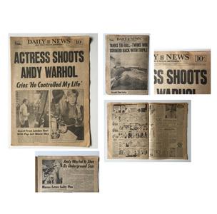 """""""ACTRESS SHOTS ANDY WARHOL"""" NY Daily News, 1968"""