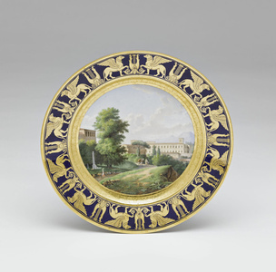 Assiettes du service des vues diverses : Vue du Museum du Belvédère à Rome (Plate with different views (part of service): View of Belvedere Museum from Rome)