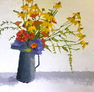 Black Eyed Susans in Gray Pitcher