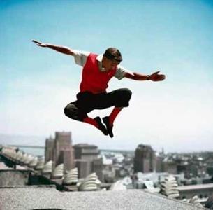 Sammy Davis Jr in mid-air