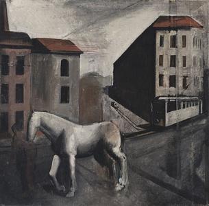Periferia con cavallo bianco