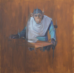 Monkey at a table