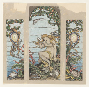 """The Mermaid Window"", Design for Stained Glass Window for the A.H. Barney Residence, New York, NY"