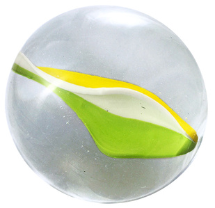 Glass marble Nr. 51 Bright Green, Canary Yellow, Opalin