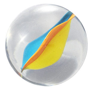Glass marble Nr. 55, Orange, Canary Yellow, Water Blue