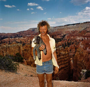 Man with Poodle at Sunset Point, Bryce Canyon National Park, Utah