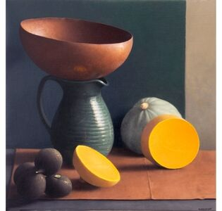 Still Life with Cut Squash and Copper Bowl