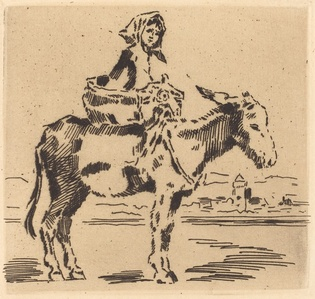 Cacoletière à la Tour (Woman Riding an Ass near a Tower)
