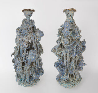 Blue and Gold Candelabra Pair