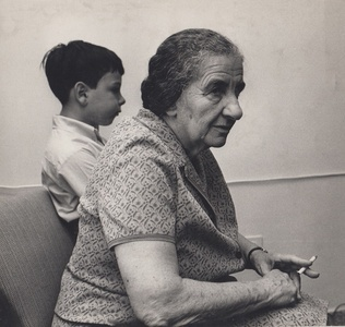 Golda Meir and Grandson, Jerusalem