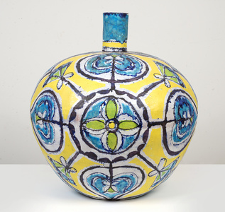 Large Round Turquoise & Yellow Bottle