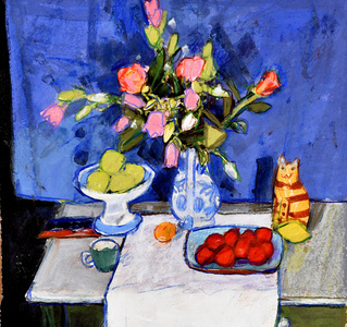 Still Life with Pinks and Plums