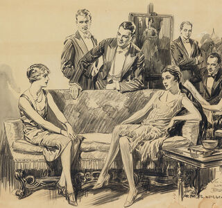 Saturday Evening Post story, 1920s Parlor Scene