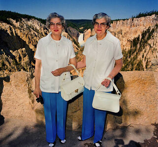 Twins with Matching Outfits at Lower Falls Overlook, Yellowstone National Park, Wyoming