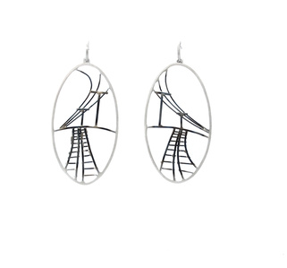 Large Oval Train Track Earrings
