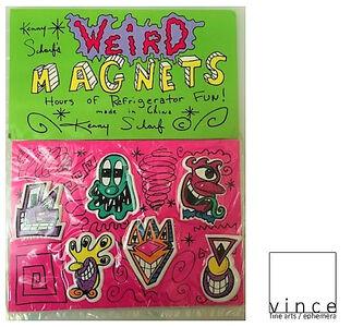 """""""Kenny Scharf Weird Magnets"""", 1990's, 6-Pack, Scharf Shack, Original Sealed Packaging."""