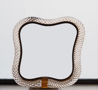 """Table mirror, with a """"torchons"""" glass frame"""
