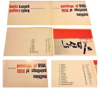 """2-PIECE SET: """"Mathieu Paintings of 1958"""", Exhibition Invitation  &  """"De l'Abstrait Au Possible. Jalons Pour Une ..."""", 1959, Exhibition Catalogue"""