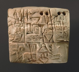 Cuneiform tablet: administrative account of barley distribution with cylinder seal impression of a male figure, hunting dogs, and boars