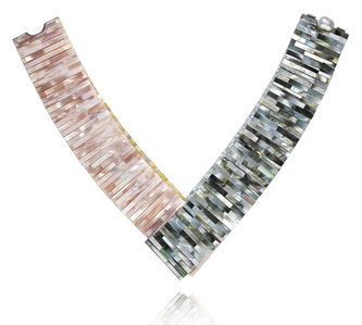 Mother of Pearl Tile Four Colour Necklace Yellow
