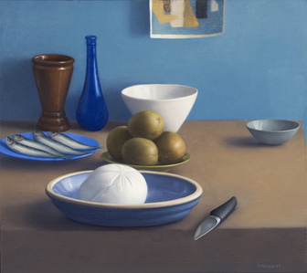 Still Life with Mozzarella, Sardines and Knife