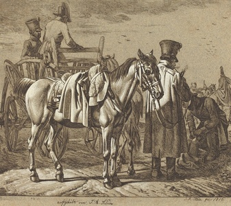 Horse with Soldiers Smoking Pipe/Military Scene