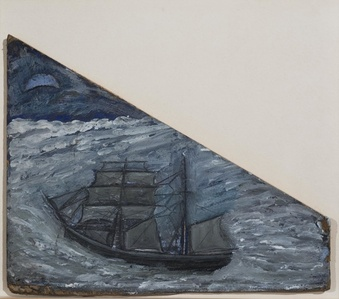 Blue Seascape with Boat