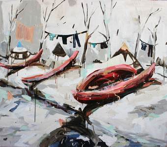 Red Canoes on Beach
