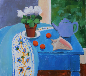 Blue Teapot with Geranium