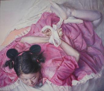 White ribbon on pink