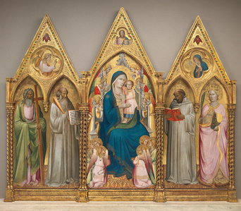 Madonna Enthroned with Saints and Angels [left panel]