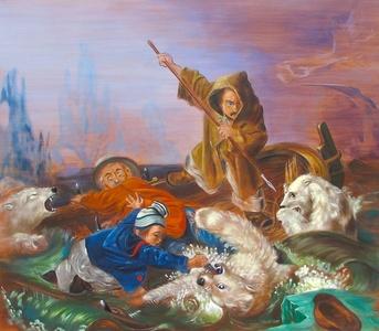 Lucha con osos polares (Francois Auguste Biard, 1839