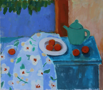 Green Teapot with Oranges
