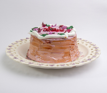Cake with Strawberry Icing