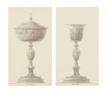 A ciborium; and A chalice: Designs for the coronation of Napoleon