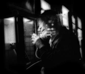 Night phone call and a smoke, Hatagaya, Tokyo, Japan