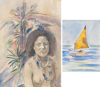 Two Works of Art: Untitled (Woman with Palm Tree), Travel Viareggio