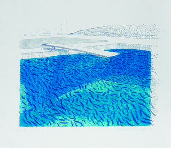 Lithograph of water Made of Lines, Crayon and Two Blue Washe
