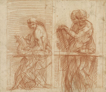 Study of Figures Behind a Balustrade (recto), Study of Figures Behind a Balustrade (verso)