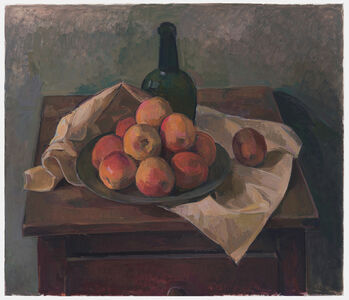 Still Life with Apples and Green Bottle
