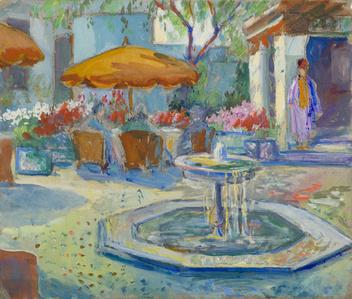 Fountain with Orange Umbrella