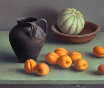 Still Life with Black Vase and Apricots